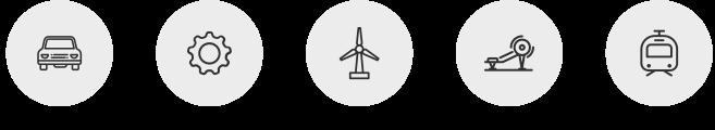 automoción, bienes de equipo, energía, maquinaria, ferroviario