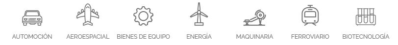automoción, aeroespacial, bienes de equipo, energía, maquinaria, ferroviario, biotecnología